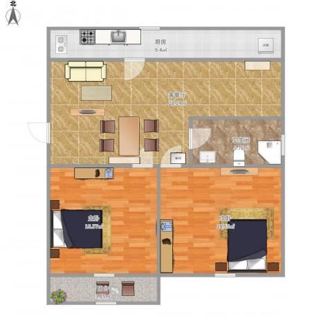 玉函路单位宿舍2室1厅1卫1厨110.00㎡户型图