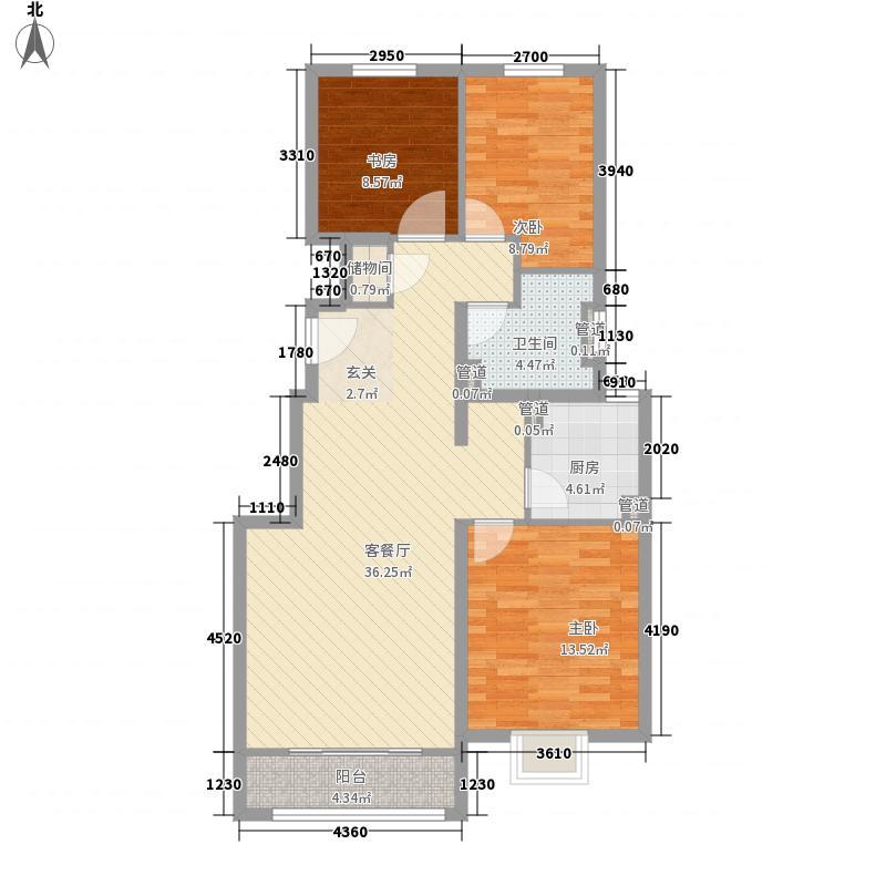 锦泽花园111.00㎡C户型3室2厅1卫1厨