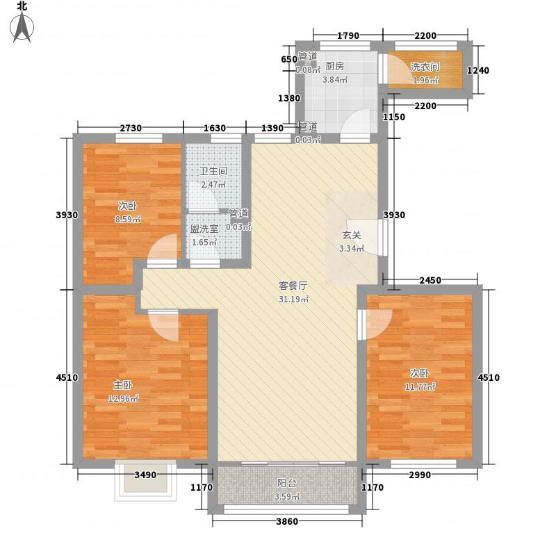 锦泽花园112.00㎡B户型3室2厅1卫1厨