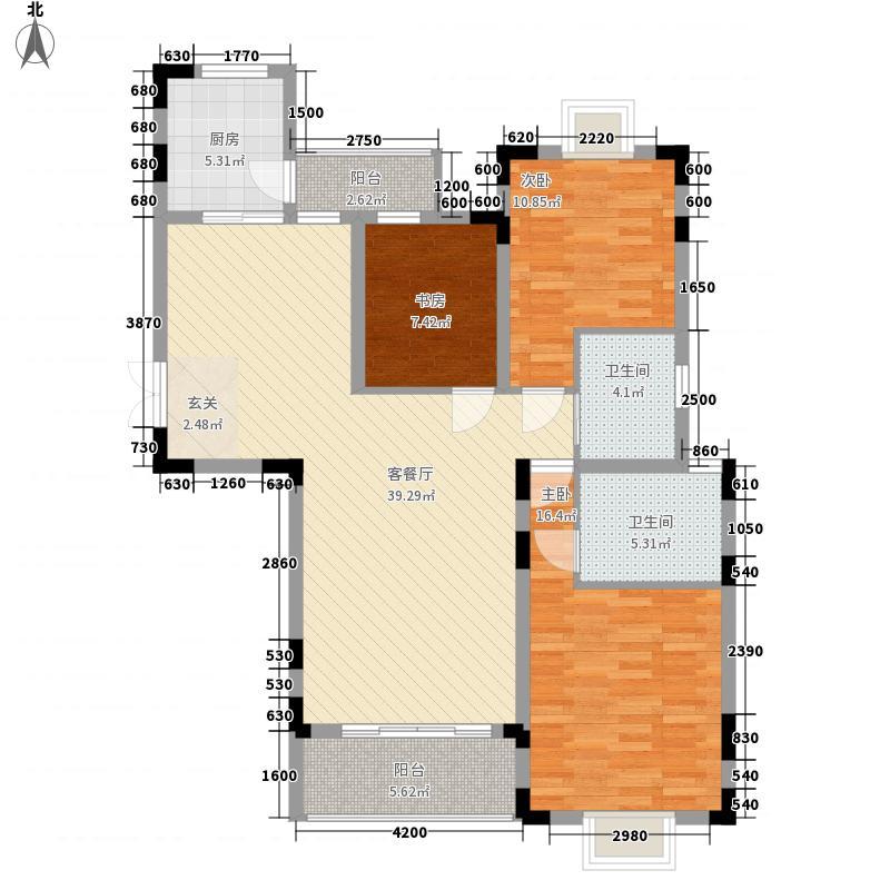 双湖湾126.00㎡D户型3室2厅2卫1厨