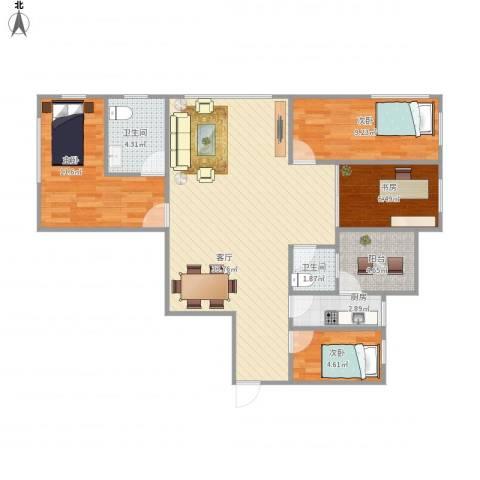 龙华花半里4室1厅2卫1厨108.00㎡户型图