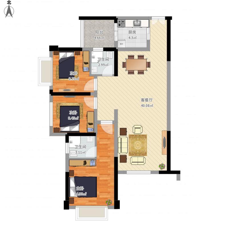 110方C3户型三室两厅