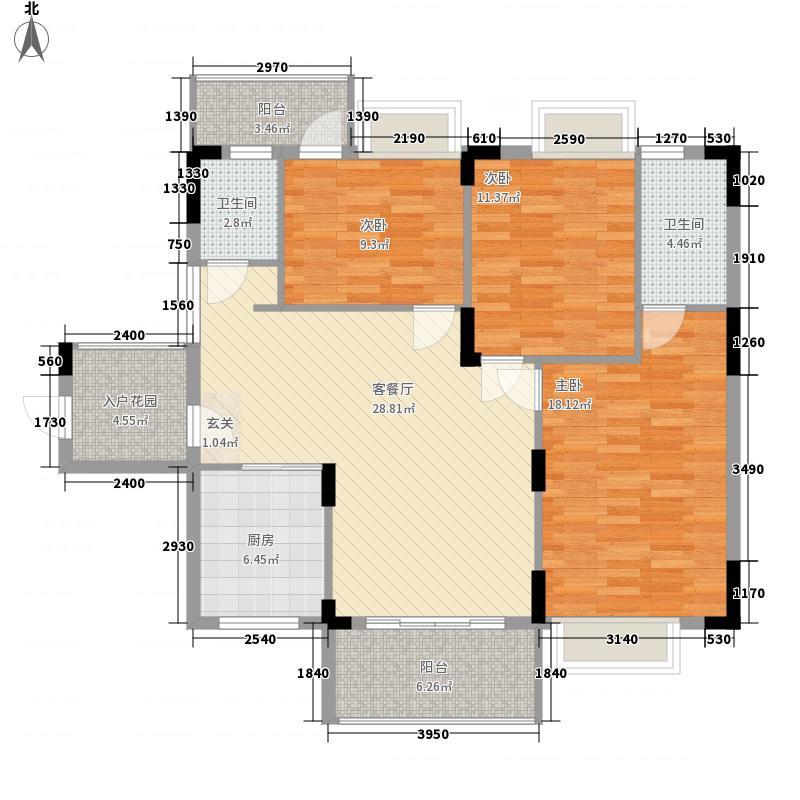 华海雅居115.00㎡E户型3室2厅2卫1厨