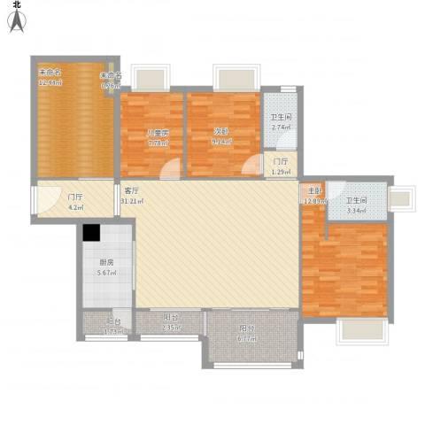 远洋城万象花园3室1厅2卫1厨144.00㎡户型图