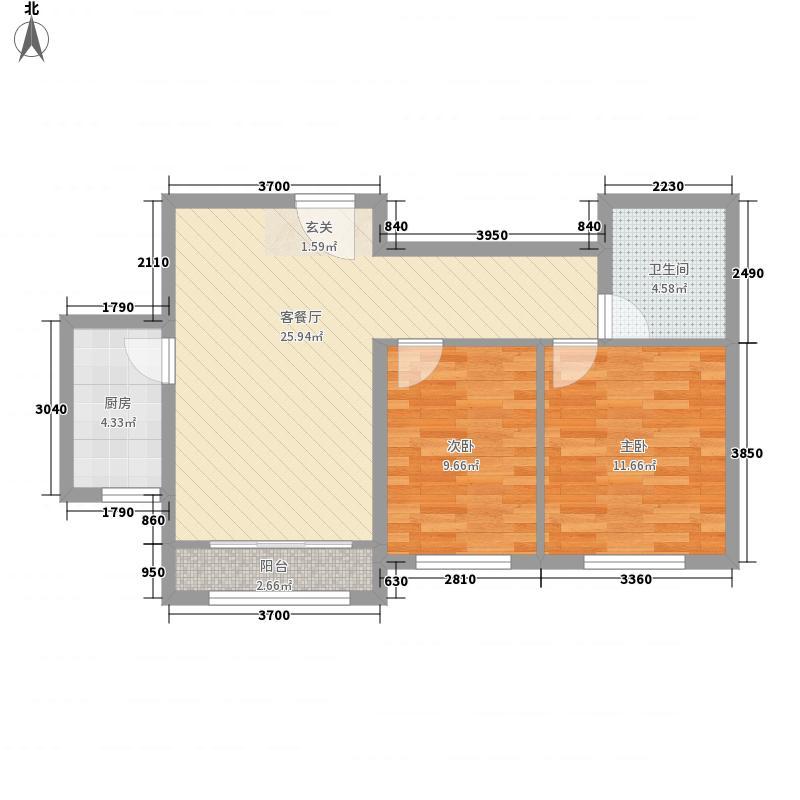东湖天地E2户型2室2厅1卫1厨