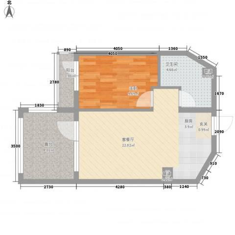 恒泰・时间海1室1厅1卫0厨61.00㎡户型图