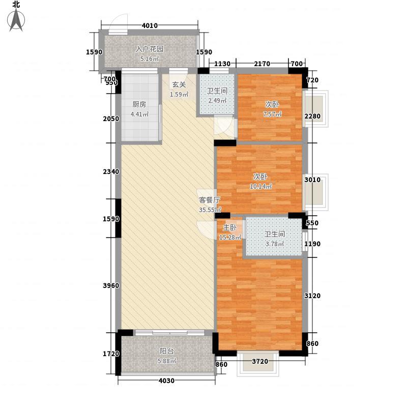 华海雅居11.00㎡B户型3室2厅2卫1厨