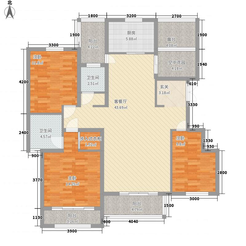 伴山帝景134.82㎡A-5户型3室2厅2卫1厨