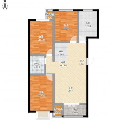金港花园3室1厅1卫1厨114.00㎡户型图