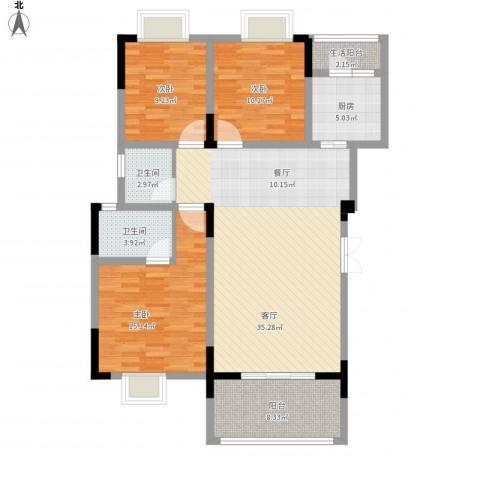 海宇西湖山水3室1厅3卫1厨132.00㎡户型图