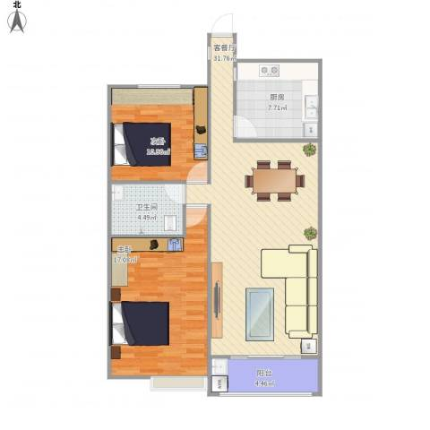 大地都市美郡2室1厅1卫1厨103.00㎡户型图