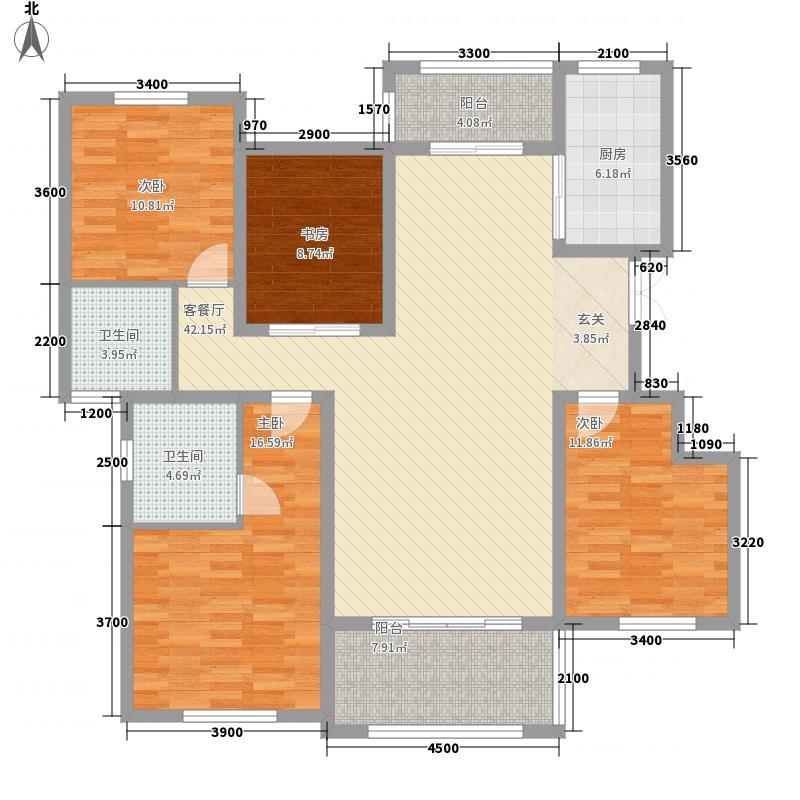 伴山帝景13.40㎡C1户型3室2厅2卫1厨