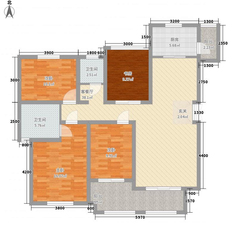 伴山帝景12.80㎡D2户型3室2厅2卫1厨
