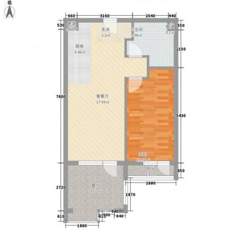 恒泰・时间海1室1厅1卫0厨74.00㎡户型图
