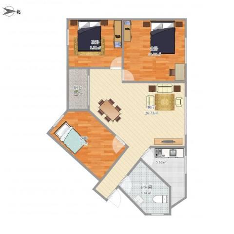 富豪花园3室1厅1卫1厨104.00㎡户型图