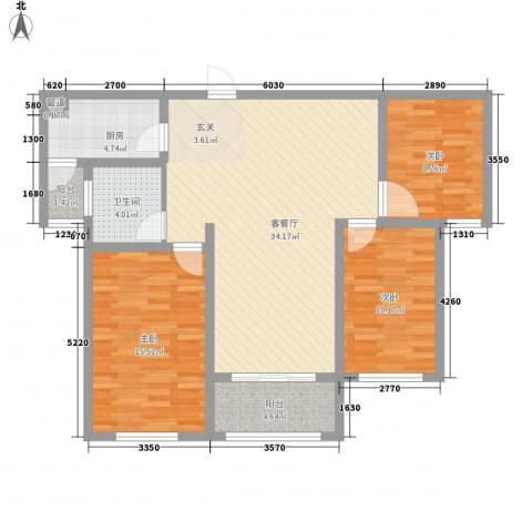 建业壹号城邦3室1厅1卫1厨5121.00㎡户型图