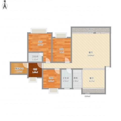 凯茵新城雅湖居4室2厅2卫1厨61.00㎡户型图