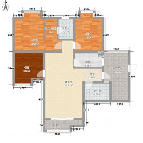 元友・南城都汇二期3室1厅2卫1厨123.00㎡户型图