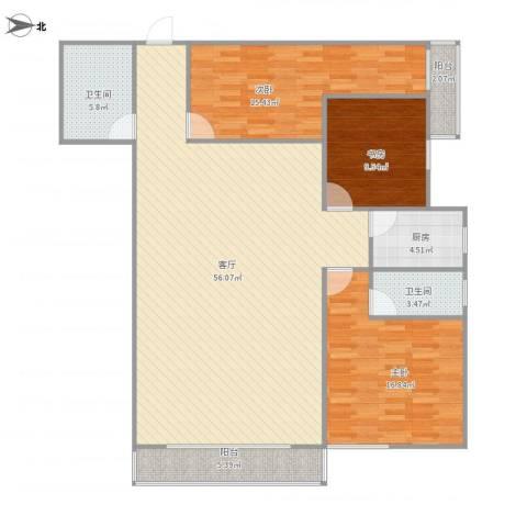 欧陆经典18号楼5013室1厅2卫1厨159.00㎡户型图