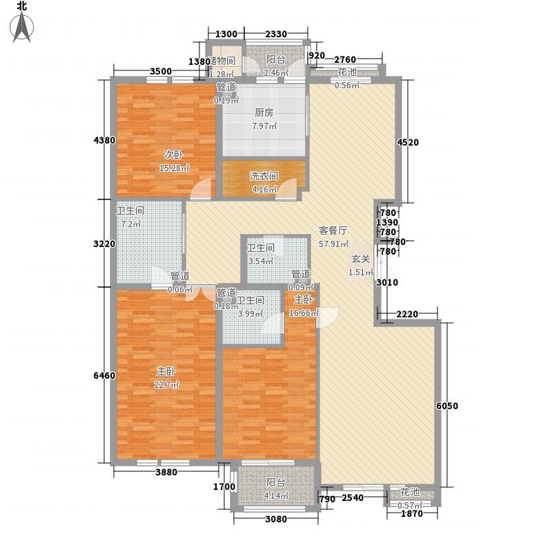 国奥村200.63㎡C6号楼3(11)三室两厅三卫户型
