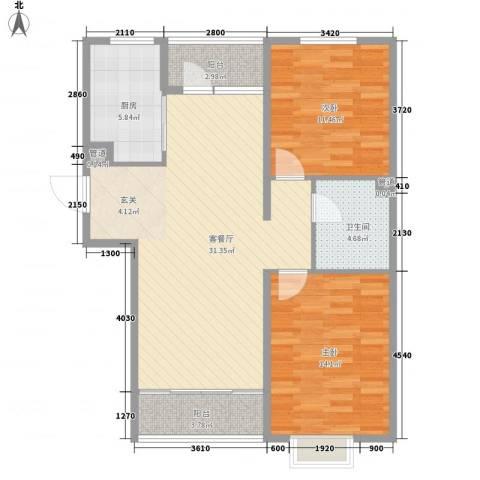 长影阳光景都2室1厅1卫1厨105.00㎡户型图