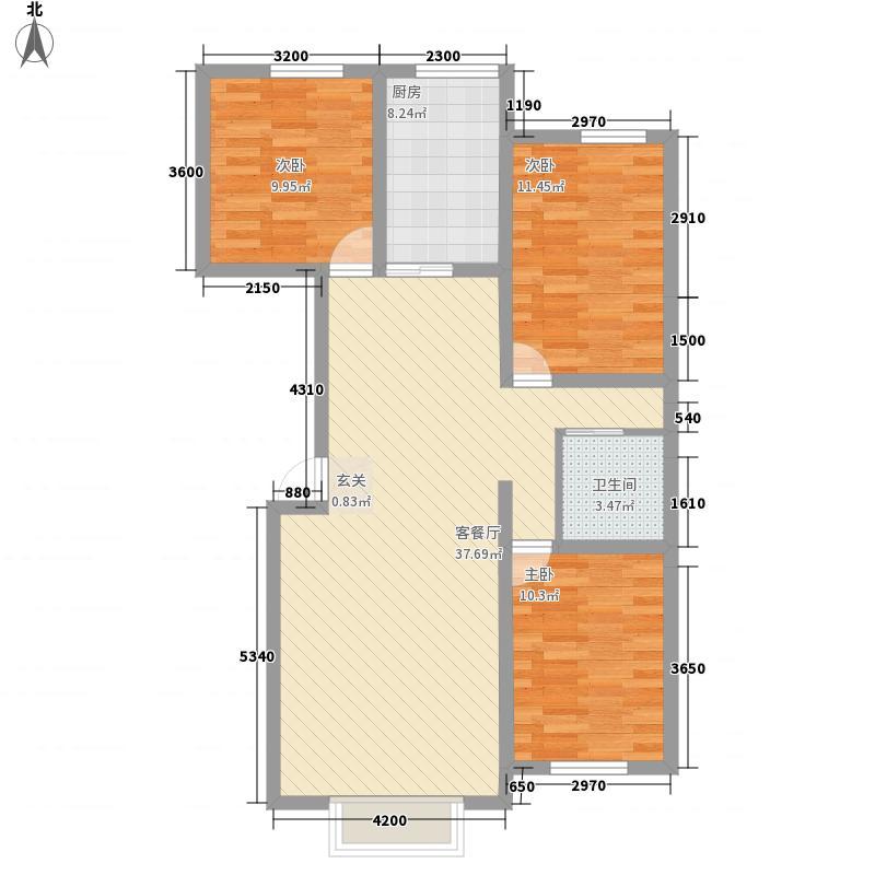 新城花园二期1.50㎡M户型3室2厅1卫1厨