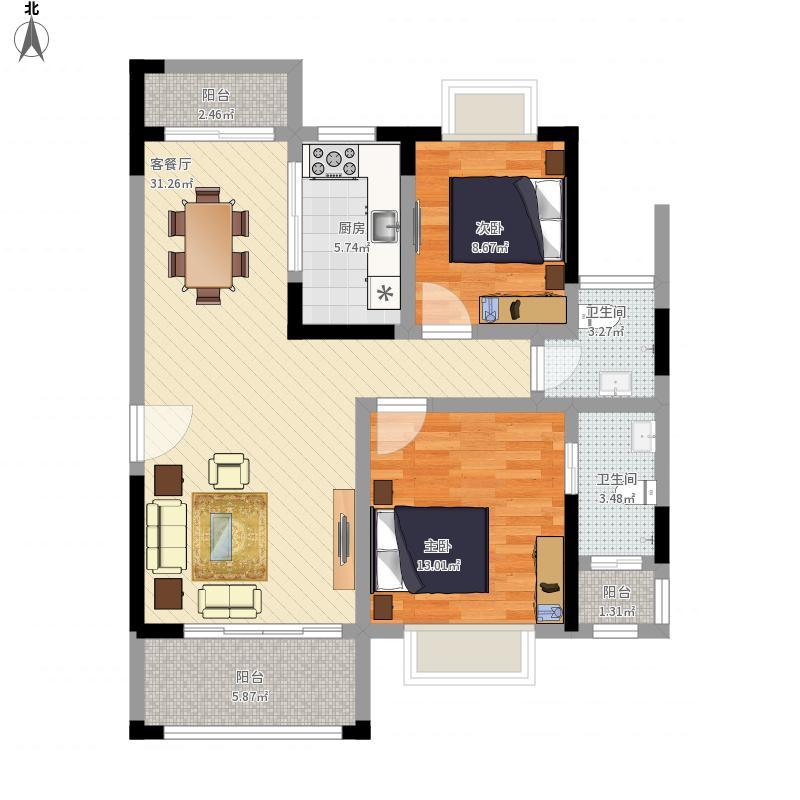 97方B1/A2户型两室两厅