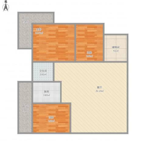 建兴楼3室1厅1卫1厨103.00㎡户型图