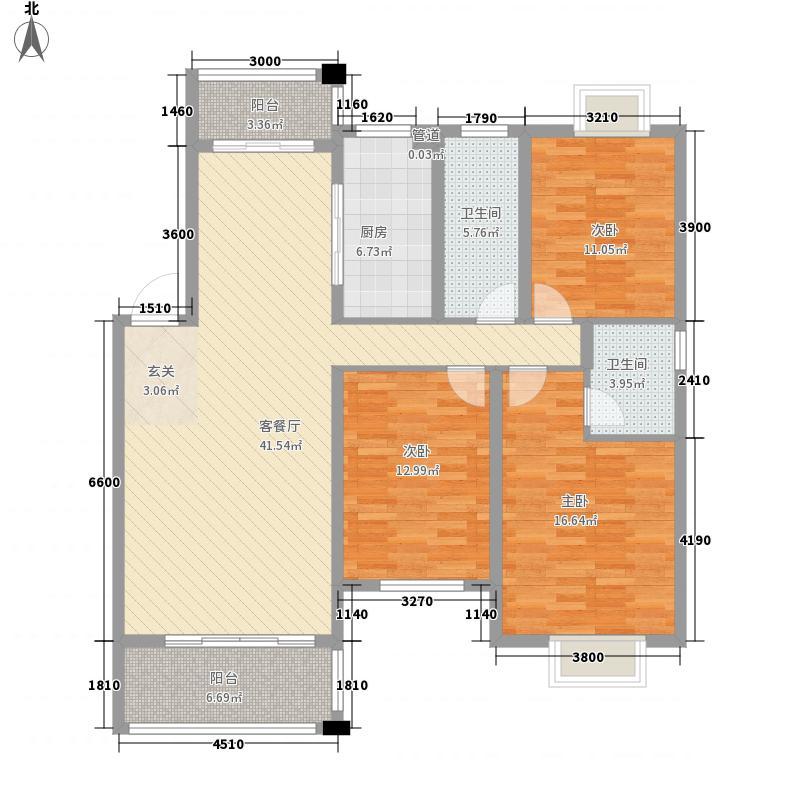 金正・欧洲城127.60㎡B户型3室2厅2卫1厨
