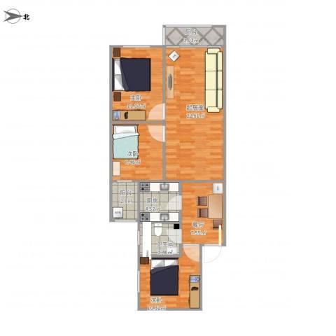 厂洼小区24号楼3室1厅1卫1厨99.00㎡户型图