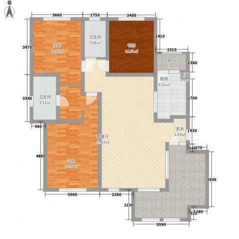 城开国际学园3室1厅2卫1厨141.00㎡户型图