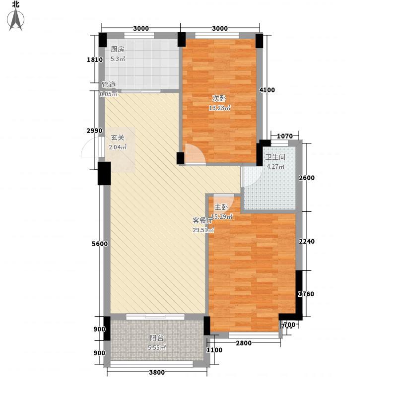 �景雅居8.00㎡紫薇轩C户型2室2厅1卫1厨