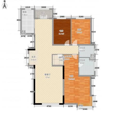 银河丽湾二期丽湾上品3室1厅2卫1厨175.00㎡户型图
