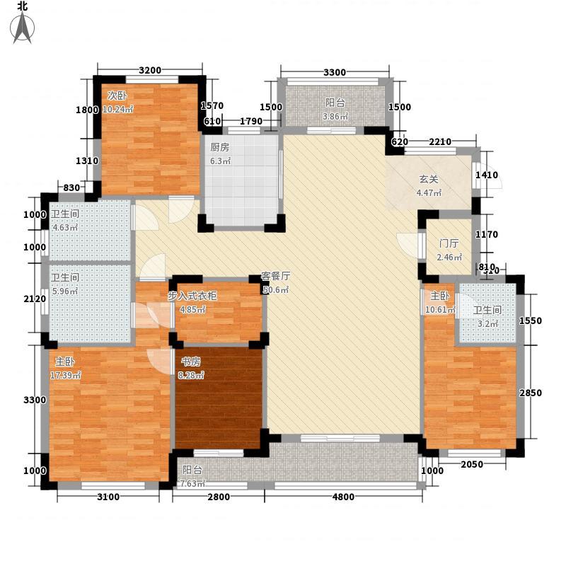 楚天都市沁园162.20㎡B-Y1-5号楼BYA-2户型4室2厅3卫1厨