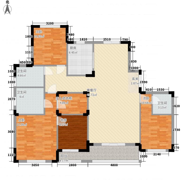 楚天都市沁园156.64㎡B-Y1-5号楼BYA-1户型4室2厅3卫1厨