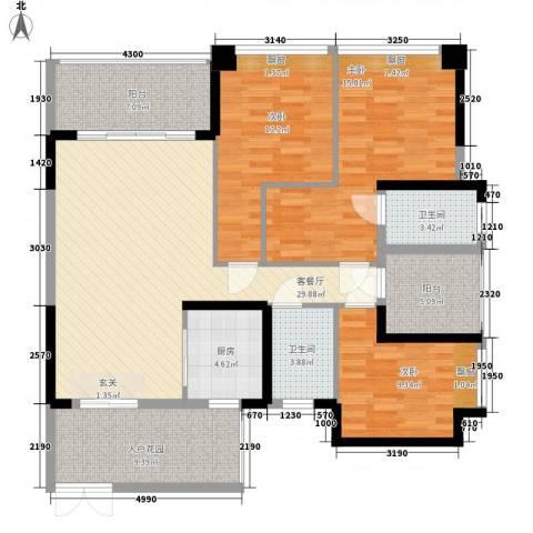 滨江晋业豪园3室1厅2卫1厨144.00㎡户型图