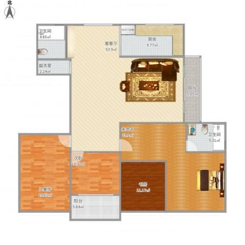 姚江公馆3室2厅2卫1厨209.00㎡户型图