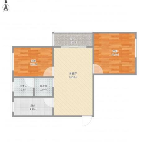 芍药居9号院9号楼12012室2厅1卫1厨64.00㎡户型图