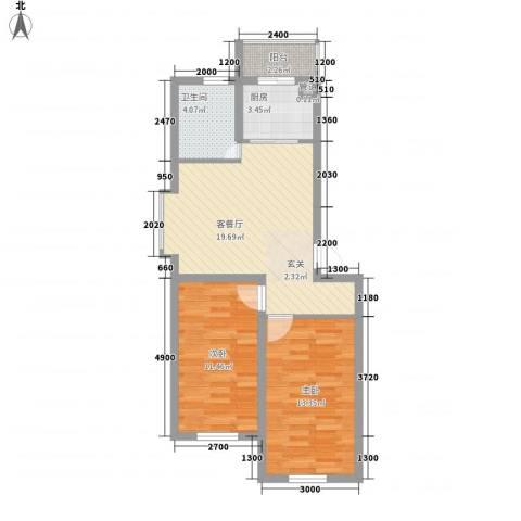 幸福里田园都市2室1厅1卫1厨73.00㎡户型图