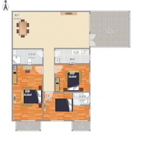荣滨大厦3室1厅2卫1厨156.00㎡户型图