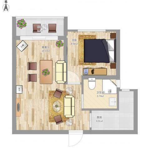 清风雅苑1室1厅1卫1厨58.00㎡户型图