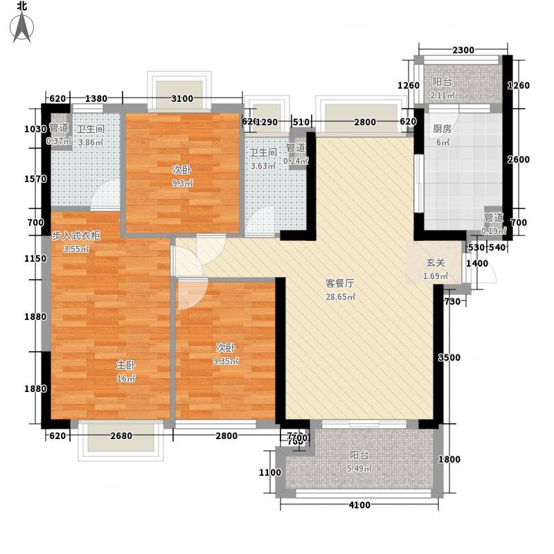 东部现代城113.00㎡40栋03户型3室2厅2卫1厨