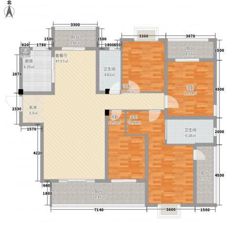 华府豪庭二期4室1厅2卫1厨6188.00㎡户型图