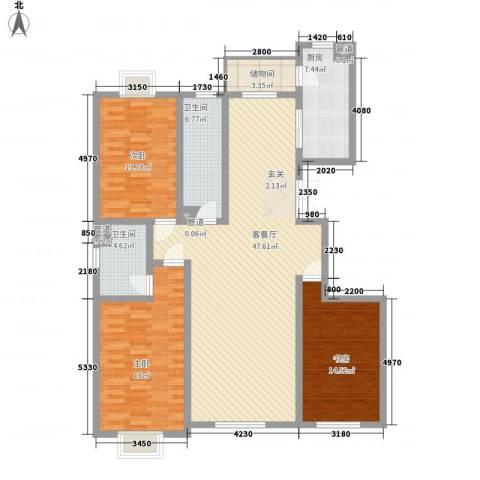 东方文苑3室1厅2卫1厨167.00㎡户型图