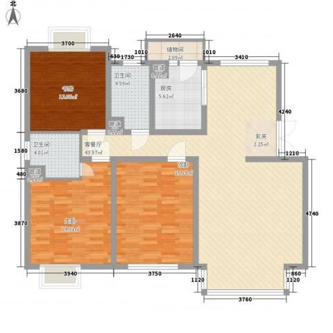 东方文苑3室1厅2卫1厨148.00㎡户型图