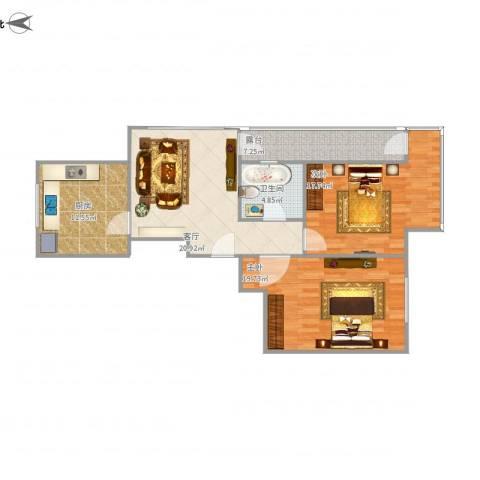 紫龙新城2室1厅1卫1厨110.00㎡户型图