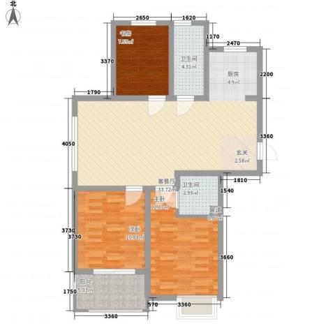 九华学府3室1厅2卫0厨110.00㎡户型图