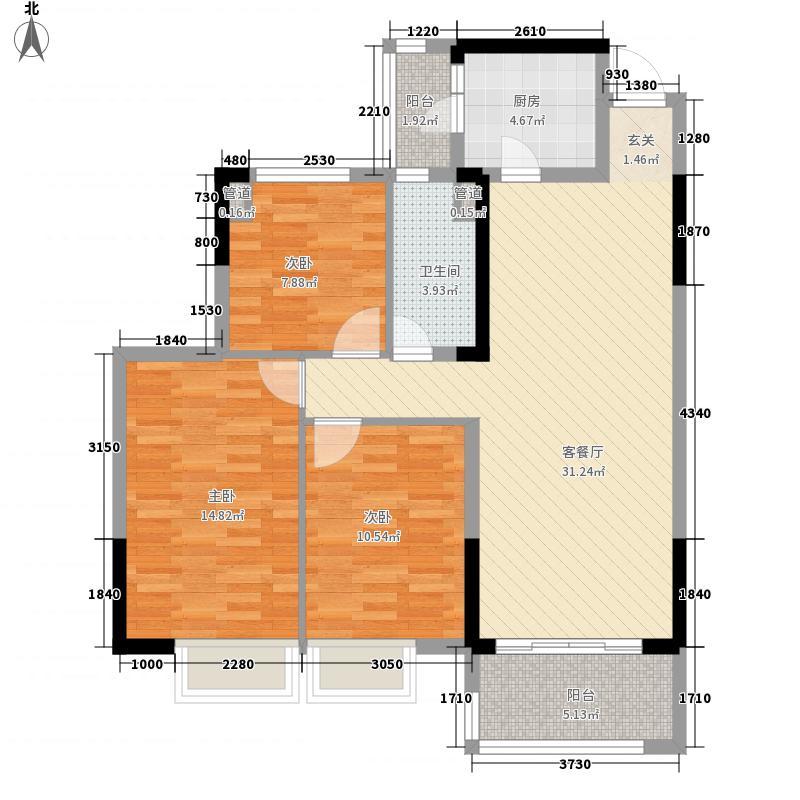 济南恒大龙奥御苑115.00㎡小高层标准1户型3室2厅1卫1厨
