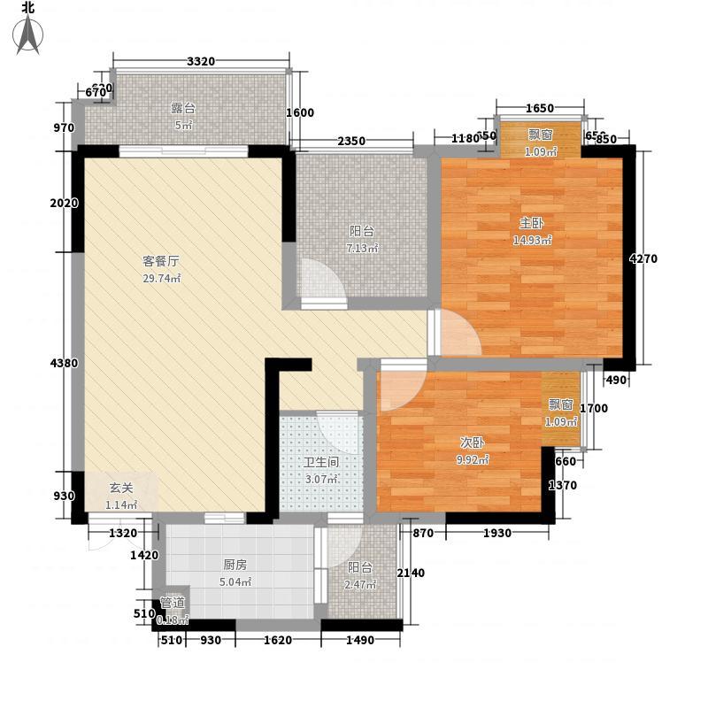 广泽・格凌西城487.84㎡4号楼F型户型2室2厅1卫1厨
