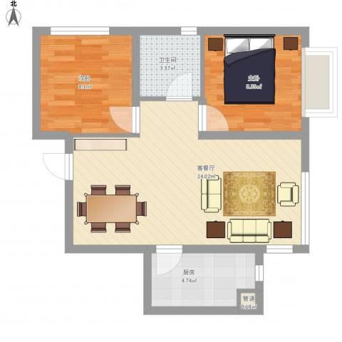 城市玫瑰园2室1厅1卫1厨70.00㎡户型图